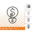money locked simple black line icon vector image vector image