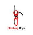 mountain climbing rope logo vector image