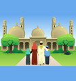 muslim family going to mosque vector image