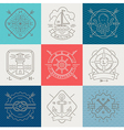 Nautical adventures and travel emblems and signs vector image