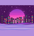 night city on a sunset background a retro vector image