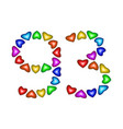 number 93 ninety three of colorful hearts on white vector image