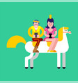 prince and princess on white horse and smartphone vector image