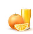 realistic orange juice glass orange fruit slice vector image vector image