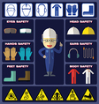 Safety Boy With Safety Equipments vector image vector image