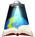 sciene book with spaceship and earth vector image vector image