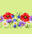 seamless pattern with summer flowers vector image vector image