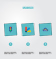 set of urban icons flat style symbols with light vector image