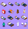 Sleep time isometric icons set