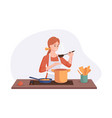 smiling chef cooking on kitchen table wife cooked vector image vector image
