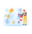 socket and plug on fire from overload vector image