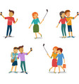 taking picture with smartphone pose vector image vector image