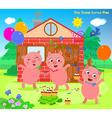three little pigs folktale happy ending vector image vector image