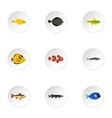 Tropical fish icons set flat style vector image vector image