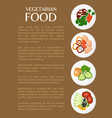 vegetarian food organic dishes set on plates vector image