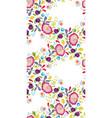 white folk art festoon with pink flower vector image vector image