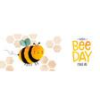 world bee day cute bumblebee cartoon banner vector image vector image