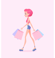 young hipster girl going down street vector image vector image