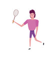 young man with tennis racket isolated icon white vector image