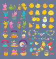 easter design elements with bunny chick vector image