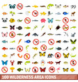 100 wilderness area icons set flat style vector image vector image
