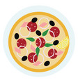 a slice italian pie called pizza with various vector image vector image