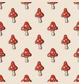 amanita mushroom seamless pattern vector image