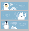 arctic banner people fox and penguin vector image vector image