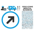 Arrow Right-Up Icon with 1000 Medical Business vector image vector image