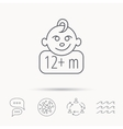 Baby face icon Newborn child sign vector image vector image