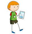 Boy holding a gadget vector image