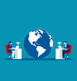 business team world and connection concept vector image vector image