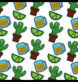 cactus and beer glass mexico culture icon image vector image vector image