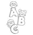 children holding cartoon letters vector image