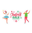 christmas sale clearance poster woman santa claus vector image