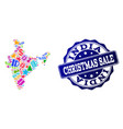 christmas sale collage of mosaic map of india and vector image