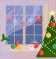 christmas window decorated by snowflakes and vector image