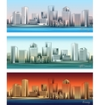 City skylines in morning afternoon and evening vector image vector image