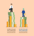 comparison income between white and blue collar vector image vector image