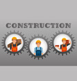 construction workers set inside gears gray vector image
