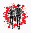 couple running together marathon runner vector image vector image