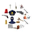 criminal symbols icons set cartoon style vector image