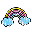 doodle nature beauty rainbow and fluffy clouds vector image vector image
