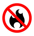 fire stop forbidden prohibition sign bonfire vector image