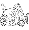 Fish angry outline vector image vector image