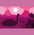 floating dinosaurs on a background of volcanoes vector image
