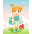 girl with tulip vector image vector image