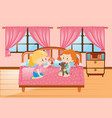 girls playing dolls in the bedroom vector image