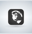 globe icon over black app button with shadow vector image vector image