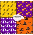 Halloween seamless patterns set with hats